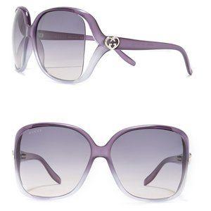 NIP Gucci 60mm Violet Grey Square Sunglasses
